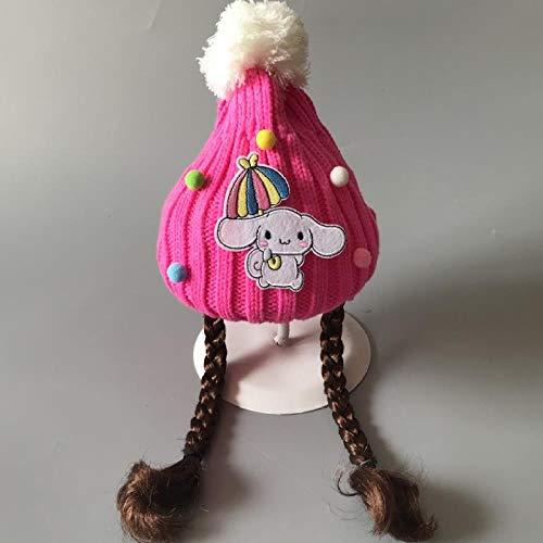 Kjsdzh Bonnet Tricoté pour Bébé, Capuchon De Perruque, Bonnet De Laine Épais, Bonnet De Laine, Mode Hiver, Bonnet De Ski Chaud, 2-8 Ans (Bonnet Élastique À La Main), Taille Unique, Chiot Rose, Rose