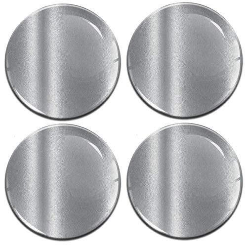 Biomar Labs® 4 x 55mm 3D Adesivi in Silicone per Coprimozzo Cerchione Copricerchi Tappi Ruote Auto Tuning Silver Colore Argento A 9755