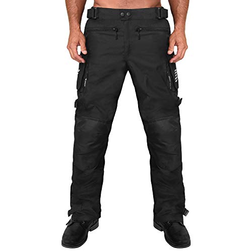 Viking Cycle Saxon Heavy Duty Armored 600D Adjustable Premium Textile Motorcycle Riding Overpants for Men (Large, Black)