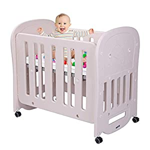 """JOYMOR 3-in-1 Baby Bed Crib with 2"""" Mattress, Easily Converts to Playard or Rocking Crib, Portable and Easy Assembly, Cream & Grey"""
