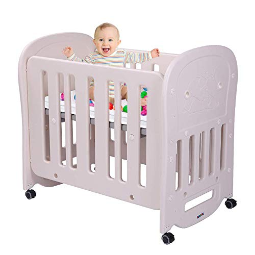 "JOYMOR 3-in-1 Baby Bed Crib with 2"" Mattress, Easily Converts to Playard or Rocking Crib, Portable and Easy Assembly, Cream & Grey"