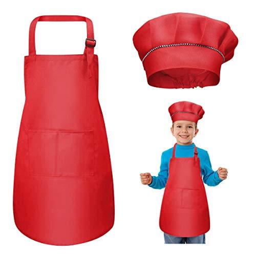 WEONE Niños Delantal y Gorro de Cocinero, Ajustable Delantal Infantil con 2 Bolsillos para Niños Niñas, Niñito Delantales de Cocina de Chef para Cocinar Hornear Pintar Artesanía (7-13 Años) (Rojo)