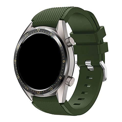 Pulseira Silicone 22mm compatível com Galaxy Watch 3 45mm - Galaxy Watch 46mm - Gear S3 Frontier - Amazfit GTR 47mm - Amazfit GTR 2 - Marca LTIMPORTS (Verde Militar)