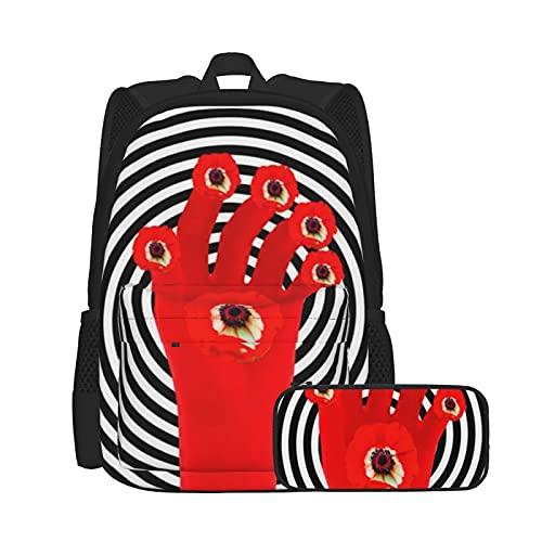 Asual - Mochila y estuche para lápices, combinación de bolsa para ordenador portátil y estuche, mochila de trabajo y estudio y bolsa de cosméticos combinación Poppy Power