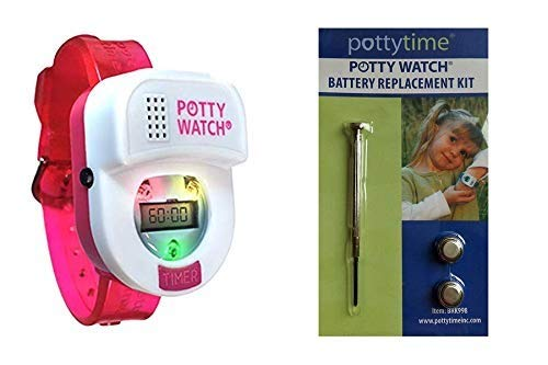 Potty Time: The Original Potty Watch   Newly Improved 2020 ~ Water Resistant   Toddler Toilet Training Aid, Warranty Included (Automatic Timers with Music for Gentle Reminders), Pink + Battery Kit