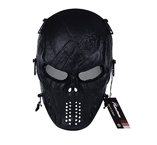 OutdoorMaster Full Face Airsoft Mask with Eye Protection Lenses - Black