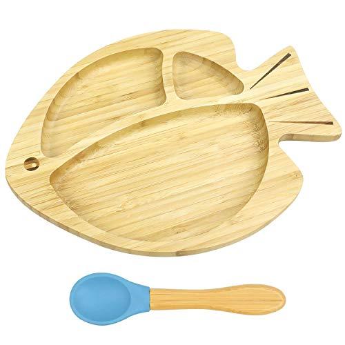 Cozy Vibe -Baby Fisch Saugnapf Teller mit einem flexiblen Löffel - Babyschale aus nachhaltigem Bambus - Rutschfester hochwertiger Teller für Babys und Kinder (Blau)