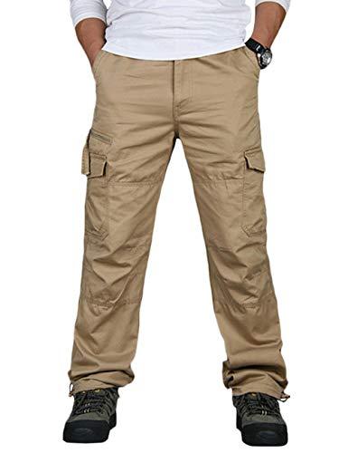 SOMTHRON Mannen Cargobroek Regular Fit Werkbroek met 8 zakken Chino stoffen broek grote maten