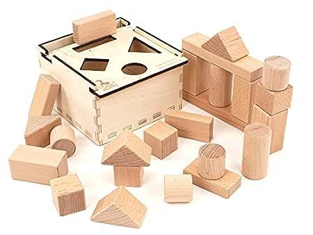 CreaBLOCKS Holzbausteine 2-in-1: Steckbox und Baby-Bauklötze