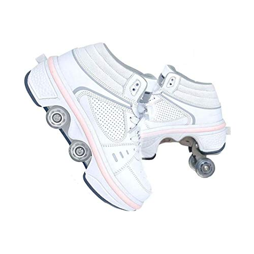 ZXSZX USB Wiederaufladbare LED Blinkt Mit Rädern Scooter Automatische Skateboardschuhe Unsichtbare Räder Für Erwachsene Kinder Outdoor Outdoor Multisport Laufschuhe, bianca-37