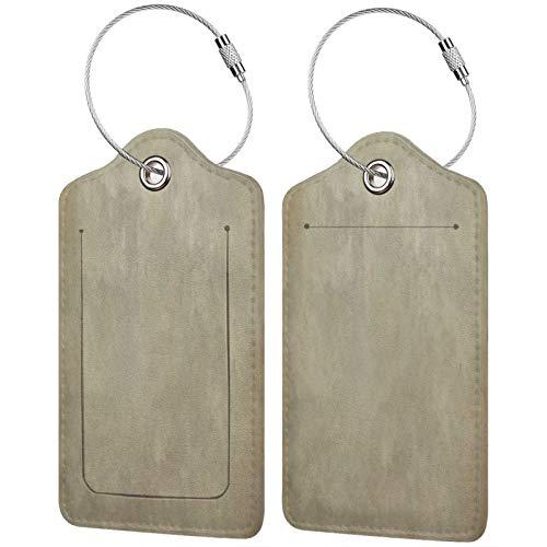 FULIYA Juego de 2 etiquetas de equipaje seguras de alta gama de cuero para maletas, tarjetas de visita o bolsa de identificación de viaje, superficie, lunares, oscuro, textura