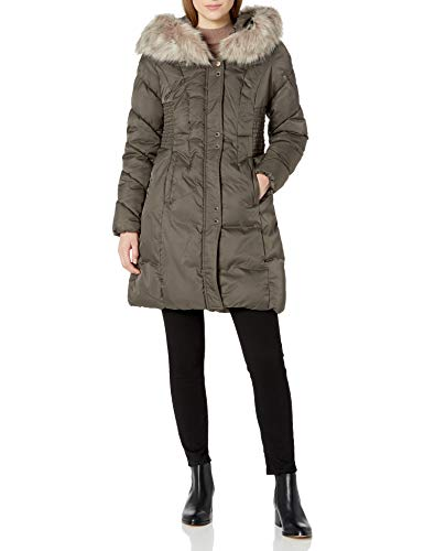 VIA SPIGA Women's Faux Fur Trimmed Exaggerated Hood Cinched Waist Puffer Coat, Pecan Shell, X-Small
