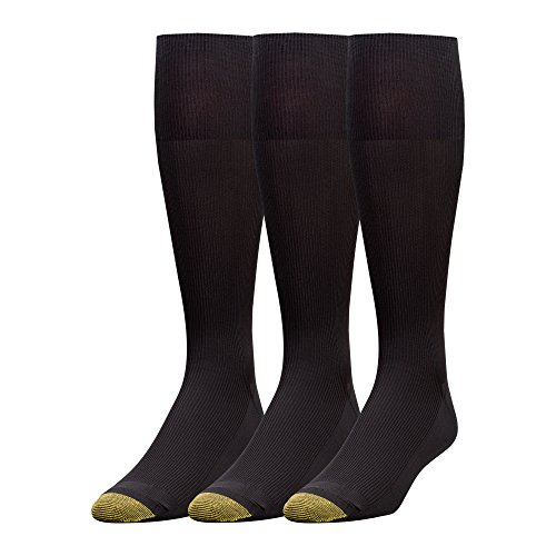 Gold Toe Men's Metropolitan Over-The-Calf Dress Socks, 3 Pairs, Black, Shoe Size: 6-12