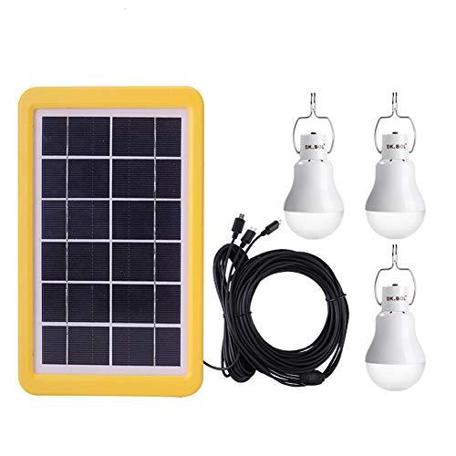 HJ&WL Solarlichter Glühbirne Solarlampen für außen, Solarlampe LED Licht Tragbare Birne Solarlampen Lämpchen, Einschließlich 3.5m*3 und 5m Ladekabel Solar Panel Beleuchtung