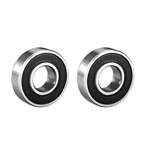 Sourcingmap a18051900ux0179 Rodamientos de bola de garganta profunda 6001RS de doble agarre, 12 mm x 28 mm x 8 mm, acero al carbono, 2 unidades