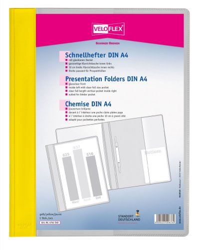 Veloflex 4741010 - Schnellhefter Veloform DIN A4, PVC, glasklarer Vorderdeckel, passend für Prospekthüllen, gelb