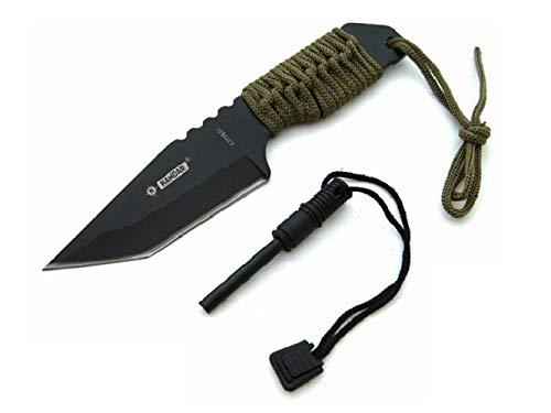 KOSxBO® Tactical Knife Survivalmes 18 cm inclusief vuursteen en paracord parachutekoord voor outdoor kampeerders jagers visser - Hunting Knife Firestone ontstekingssteen rittenmes riemmes
