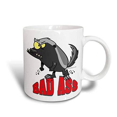 Taza de café de cerámica, taza de cerámica de dibujos animados de tejón de miel Badass Bad Ass, 11 oz, color blanco