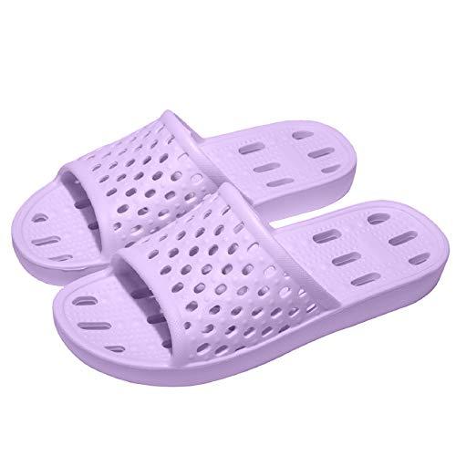 WOTTE Shower Sandals Women Quick Drying Bath Slippers Non Slip Dorm Shoes Size 9 Purple