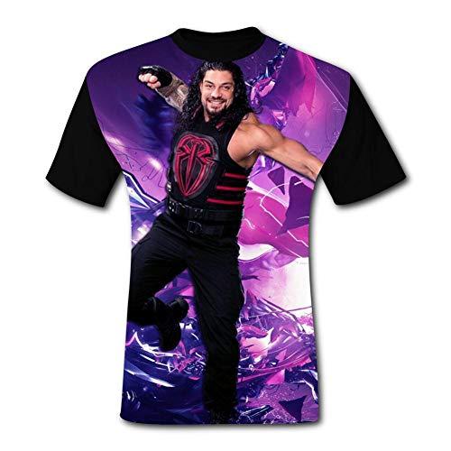 T-Shirt Short Sleeve Roman-R-Reigns Tee Shirt Sport Tshirt for Men&Women Black