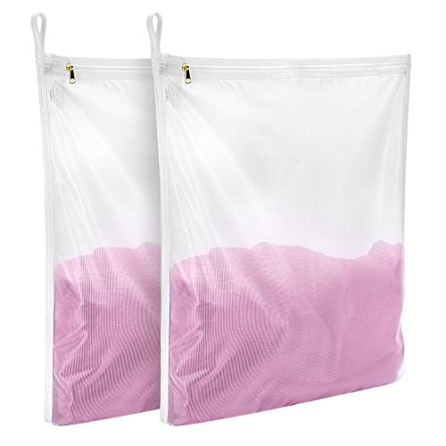 GOGOODA Delicates Laundry Bags, Fine Mesh Wash Bag for Lingerie, Underwear, Bra, Silk, Socks with Hanging Loop (2 Set(2M))