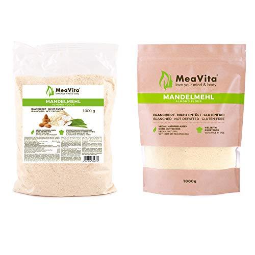 MeaVita Mandelmehl, naturbelassen, blanchiert, (1 x 1000g) gemahlene Mandeln zum Backen, 100% natürlich proteinreich
