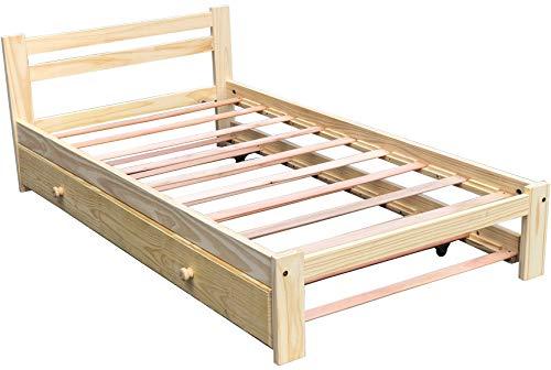 Doppelbett, Ausziehbett aus massivem Kiefernholz mit Lattenrost, 100 cm breites Matratze, unlackiert, Einzelbett, Bettgestell geeignet für Schlafzimmer und Rollbett