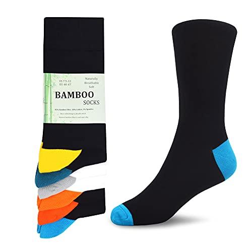 WeciBor Men's Bamboo Fiber Socks 6-Pack Men's Smart Breathable Super Soft Premium Luxury Casual Socks