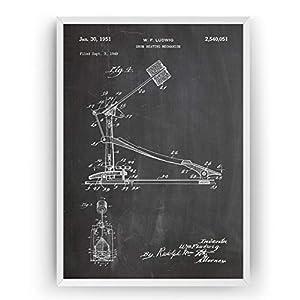 Drum Kick Pedal 1951 Patent Poster – Drummer Jahrgang Drucke Drucken Bild Kunst Geschenke Zum Männer Frau Entwurf Dekor…