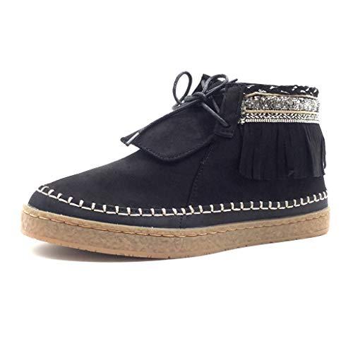 Angkorly - Damen Schuhe Stiefeletten - Fransen - Fantasy - Bestickt Flache Ferse 2.5 cm - Schwarz 151-52 T 38