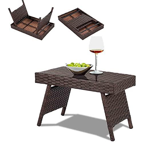 RELAX4LIFE Kaffeetisch Rattan, Tisch klappbar, Rattantisch braun, Klapptisch Polyrattan, Gartentisch Eisengestell, bis 45kg belastbar, drinnen & draußen, für Balkon, Garten, Hof, Camping, 60x40x40 cm