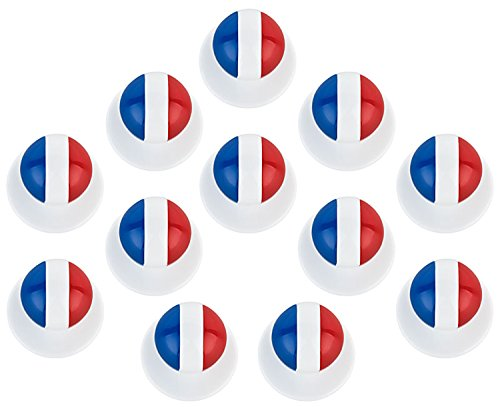 DESERMO 12er Set Kugelknöpfe Länder für Kochjacken | Hochwertige Kochjackenknöpfe für alle Kugelknopf-Kochjacken | Profi Kochknöpfe mit Länder Flagge (Frankreich)