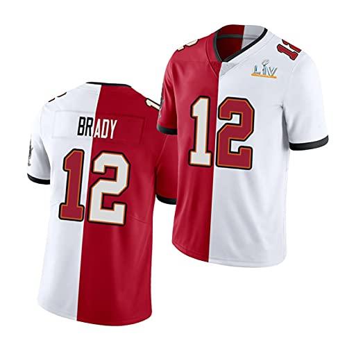WDGZ Camiseta De Fútbol Americano para Hombre Tǒm Brǎdy, # 12 Bǔccǎneers Chándal De Manga Corta con Uniforme Dividido En Blanco Y Rojo para Jóvenes XL