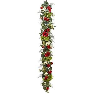 6′ Silk Rose, Anemone & Hydrangea Flower Garland -Burgundy/Green