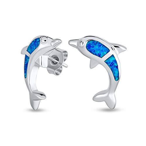 Creato Opale Blu A Inserto Oceano Nautico Vita Marina I Delfini Orecchini A Lobo Per Donne Per La Teen Argento 925