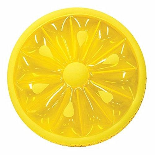 Premium luchtmatras citroen (145 cm diameter) matras opblaasbaar lucht matras luchtbed ligstoel zwemring zwemring zwemring zwembad lounge limoen geel rond
