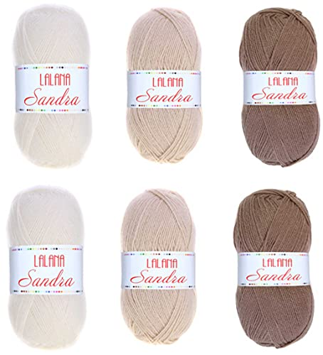Hilo de Acrílico 2 Packs de 3 ovillos de lana para tejer crochet, ganchillo o Punto Torrijo SANDRA...