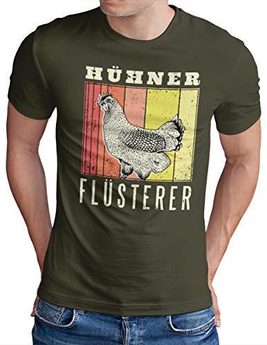 OM3® Hühnerflüsterer T-Shirt | Herren | Hühner Flüsterer Lustiges Huhn | Oliv, L