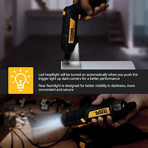 Cordless Screwdriver, 45PCS Accessories, 9+1 Torque Gears, 1/4'' Hex Quick Change, Self-lock Chuck, 6Nm Electric Screwdriver, 4V 2000mAh Li-ion, Adjustable 2 Position Handle with 2 LED - Black