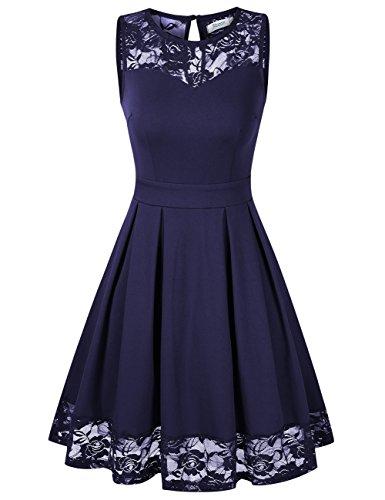 KOJOOIN Damen Elegant Kleider Spitzenkleid Ohne Arm Cocktailkleid Knielang Rockabilly Kleid Blau Dunkelblau M