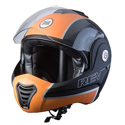 BHR Helmets 807Reverse - Casco Moto Unisex - Adulto, Arancio Opaco, XL