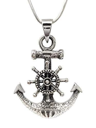TreasureBay - Collar con colgante de ancla de plata de ley para hombre