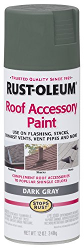 Rust-Oleum 285223 Roof Accessory Spray Paint, 12 oz, Dark Gray/Gray