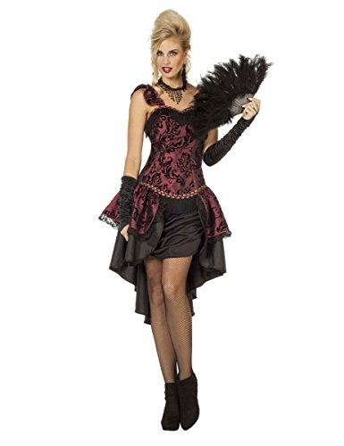 Bordeauxrood 20's cabaret ballerina kostuum voor vrouwen