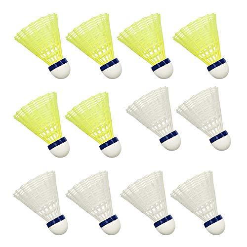 Hysagtek 12 Stücke Nylon Badminton Federbälle Indoor Outdoor Sport Hight Speed Training Badminton (Weiß und Gelb)