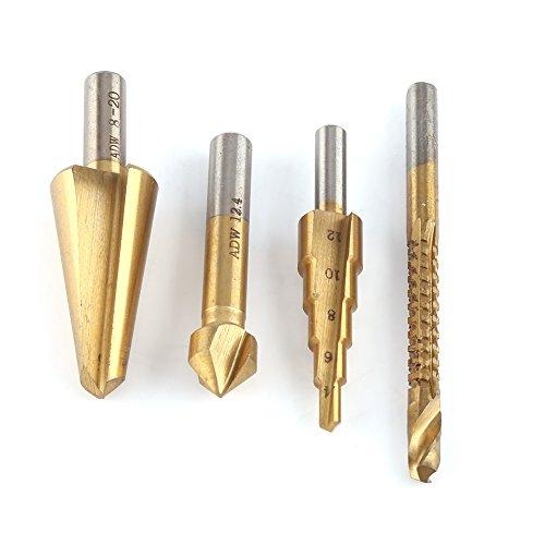 Juego de brocas de perforación de 6 mm, sierra de 8 – 20 mm, forma cónica, 4 – 12 mm, avellanador de 90 grados