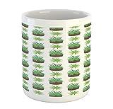 N\A Taza de Color Agave, Plantas consecutivas con Aspecto de Aloe Vera en macetas sobre Fondo Liso, Taza de café de cerámica para Bebidas de té de Agua, 11 oz, ámbar Blanco y Verde Helecho