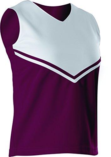 Alleson Women's Cheerleading V Shell Top with Braid, Maroon/White, Medium