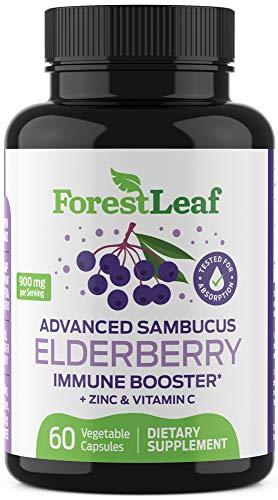 Advanced Sambucus Elderberry Immune Booster with Zinc & Vitamin C - Black Elderberry Fruit Extract Supplement - Immunity Support for Adults and Children - 60 Vegetarian Capsules