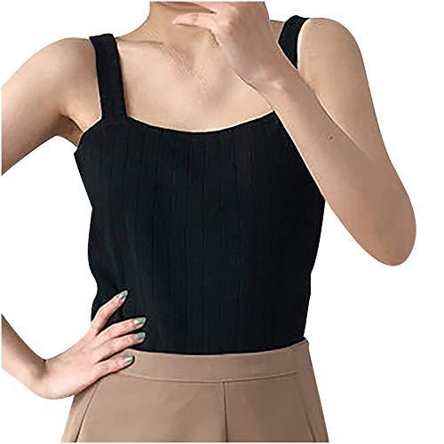 VEMOW Camiseta sin Mangas para Mujer, Verano Sexy Y2K Crop T